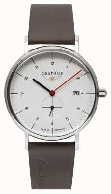 Bauhaus Men's Brown Leather Italian Strap | White Dial 2130-1