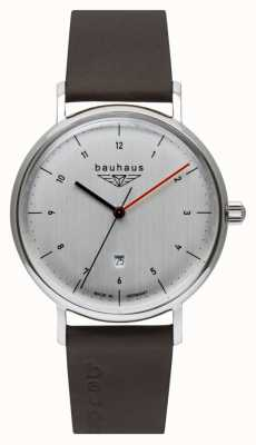 Bauhaus Men's Brown Italian Leather Strap | Silver Tone Dial 2140-1