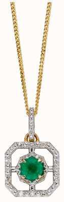 Elements Gold 9ct White Gold Art Deco Square Hexagonal Emerald Diamond Pendant GP2255G