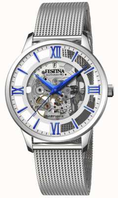 Festina Men's Automatic Skeleton | Steel Mesh Bracelet | Silver/Blue Dial F20534/1