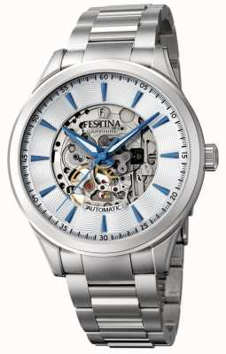 Festina Men's Automatic Skeleton | Silver Steel Bracelet | F20536/1