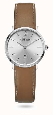 Michel Herbelin City   Silver Dial   Brown Leather Strap 16915/11GO