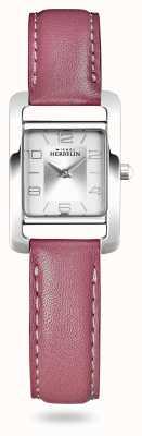 Michel Herbelin V Avenue   Pink Leather Strap   Silver Dial 17437/21ROZ