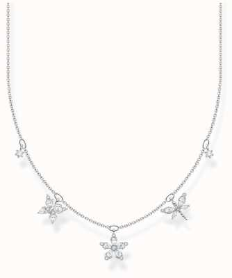 Thomas Sabo Sterling Silver | White Stones Butterfly & Flowers Necklace KE2100-051-14-L45V