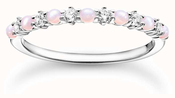 Thomas Sabo Sterling Silver Ring | Pink Stones | Size 56 (UK O 1/2) TR2343-166-7-56