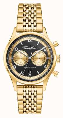 Thomas Sabo Rebel At Heart | Men's Gold Tone Bracelet | Black Dial WA0376-264-203-40