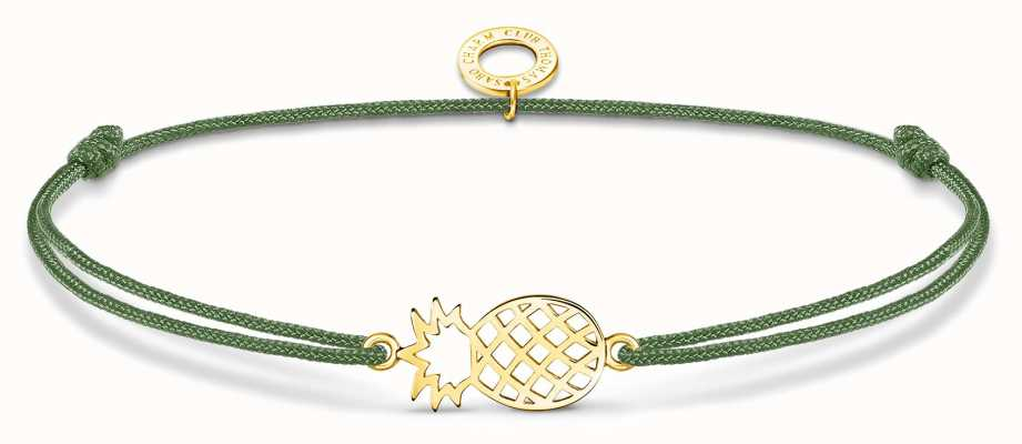Thomas Sabo Little Secrets | Green Nylon Gold Plated Pineapple Bracelet LS122-379-6-L20V