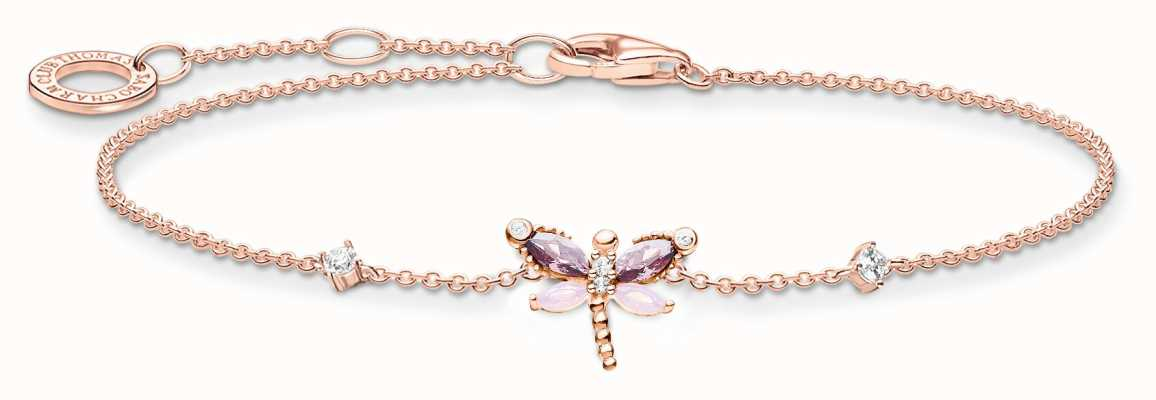 Thomas Sabo Rose Gold Plated Dragonfly Bracelet | Pastel Coloured Stones A2025-321-7-L19V