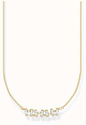 Thomas Sabo Gold Plated White Stones Necklace KE2095-414-14-L45V