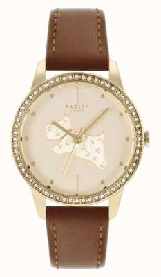 Radley Women's Tan Leather Strap | Gold Dog Motif Dial RY21180