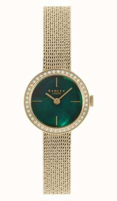 Radley Women's Gold Plated Mesh Bracelet | Green Mother Of Pearl Dial RY4568