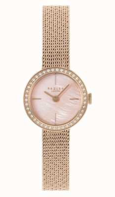 Radley Women's Rose Gold Plated Mesh Bracelet | Pink Mother Of Pearl Dial RY4570