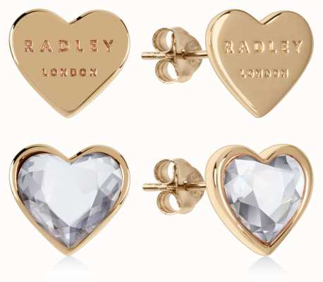 Radley Jewellery Love Heart | Gold Plated Sterling Silver Heart Stud Earrings | Set RYJ1158S-CARD