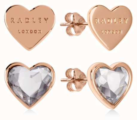 Radley Jewellery Love Heart | Rose Gold Plated Sterling Silver Heart Stud Earrings | Set RYJ1158S