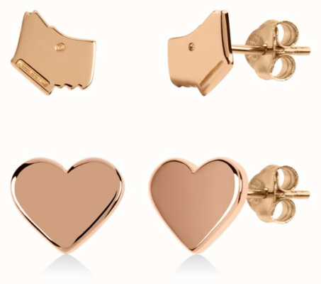 Radley Jewellery Love Heart | Rose Gold Plated Dog Head & Heart Stud Earrings Set RYJ1166S-CARD