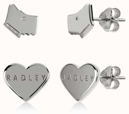 Radley Jewellery Love Heart | Sterling Silver Dog Head & Heart Stud Earrings Set RYJ1165S-CARD