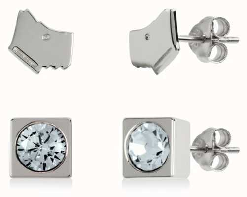 Radley Jewellery Radley Rocks | Sterling Silver Dog Head & Square Stud Earring Set RYJ1161S