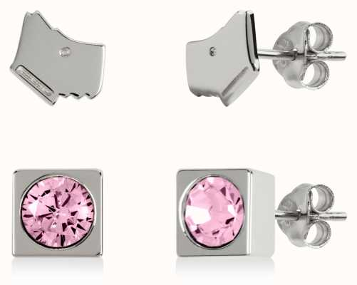 Radley Jewellery Radley Rocks | Sterling Silver Dog Head & Square Stud Earring Set RYJ1161S-CARD