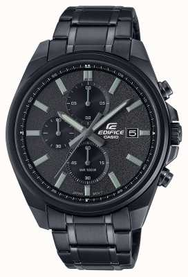 Casio Edifice All Black IP | Black Stainless Steel Bracelet | Black Dial EFV-610DC-1AVUEF