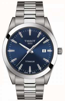 Tissot Gentlemen Titanium   Grey/Silver Titanium Bracelet   Blue Dial T1274104404100