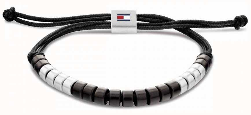 Tommy Hilfiger Men's Black Nylon Beaded Bracelet 2790292