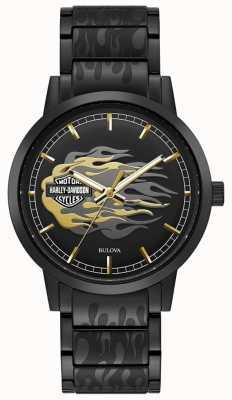 Harley Davidson Men's Flames | Black Steel Bracelet | Black Dial 78A121