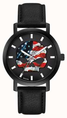 Harley Davidson Men's American Flag Willie G | Black Leather Strap 78A122