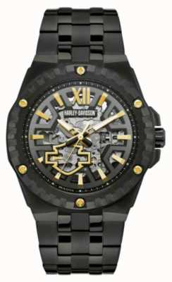 Harley Davidson Men's Automatic Skeleton | Black Steel Bracelet 78A128