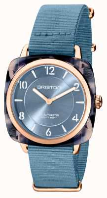 Briston Clubman Chic | Rose Gold 36mm Blue Dial | Blue Nato Strap 21536.PRA.UB.25.NIB