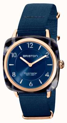 Briston Clubman Chic | Rose Gold 36mm Navy Blue Dial | Navy Blue Nato Strap 21536.PRA.UB.33.NMB