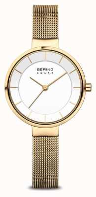 Bering Solar Women's Gold-Plated Mesh Bracelet Watch 14631-324
