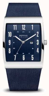 Bering Solar | Men's | Polished Silver | Blue Mesh Bracelet 16433-307
