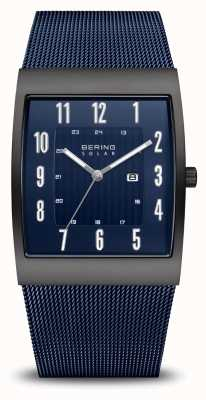 Bering Solar | Men's | Brushed Black | Blue Mesh Bracelet 16433-327