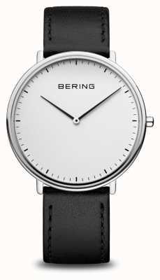 Bering Classic Unisex Black Leather Strap Watch 15739-404