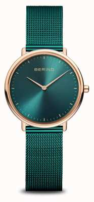 Bering Classic Women's Green and Rose-Gold Watch 15729-868