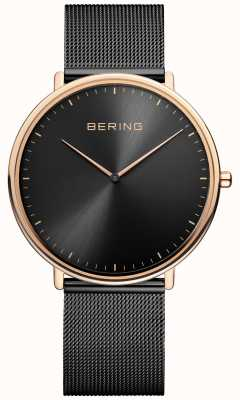 Bering Classic Unisex Black and Rose-Gold Watch 15739-166