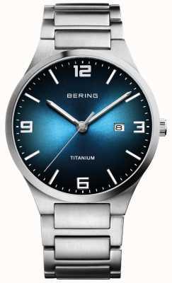 Bering Men's Brushed Titanium Blue Dial Watch 15240-777