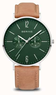 Bering Classic | Men's | Polished Silver | Brown Leather Strap 14240-608