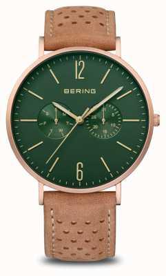 Bering Classic   Men's   Mat Rose Gold   Brown Leather Strap 14240-668
