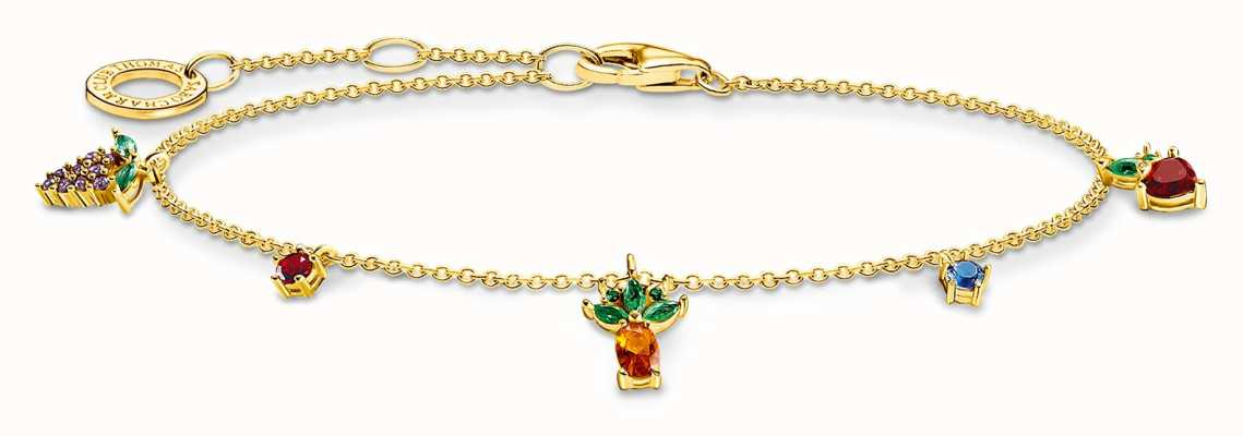 Thomas Sabo Gold Plated Zirconia Multicoloured Fruits Bracelet A2026-488-7-L19V