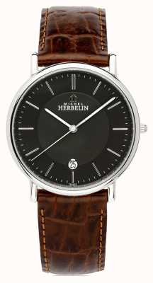 Michel Herbelin Mens Classique | Brown Leather Strap | Black Dial 12248/14MA