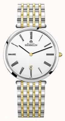 Michel Herbelin Epsilon | White Dial | Two Tone Steel Bracelet 19416/BT01N