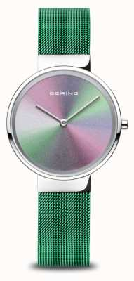 Bering Anniversary | Women's | Polished Silver | Green Mesh Bracelet 10X31-ANNIVERSARY1