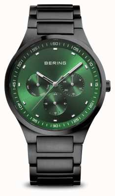 Bering Classic | Men's | Brushed Black | Green Dial 11740-728
