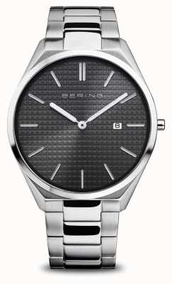 Bering Ultra Slim | Men's | Polished/Brushed Silver | Black Dial 17240-702