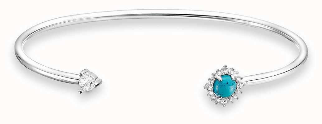 Thomas Sabo Sterling Silver Turquoise Stone Bangle AR107-405-17-L15,5