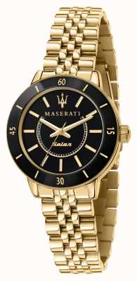 Maserati Woman's Successo Solar Black and Gold Watch R8853145503
