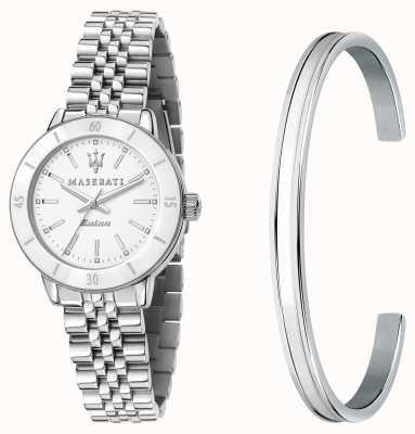 Maserati Successo Solar Lady Watch and Bangle Gift Set R8853145507