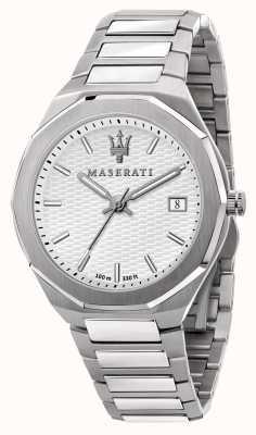 Maserati Men's Stile 3H Data White Dial Watch R8853142005
