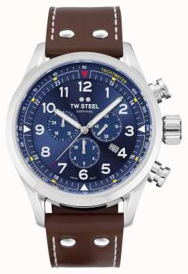 TW Steel Swiss Volante Brown Leather Strap Blue Dial SVS201